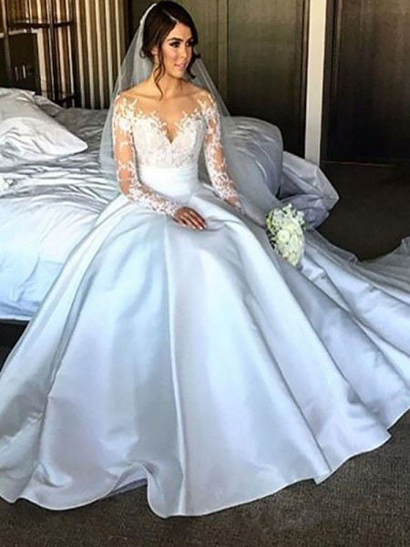 Ball Gown Off-the-Shoulder Long Sleeves Satin Court Train Wedding Dresses
