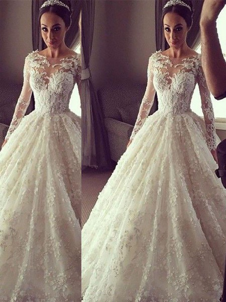 Ball Gown Scoop Long Sleeves Lace Court Train Wedding Dresses