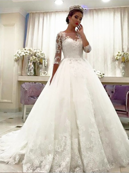 Ball Gown Bateau 3/4 Sleeves Tulle Court Train Wedding Dresses