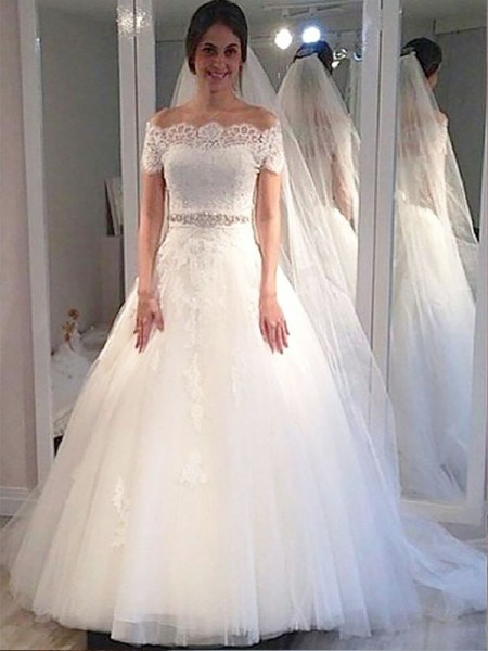 Ball Gown Off-the-Shoulder Short Sleeves Tulle Long Wedding Dresses