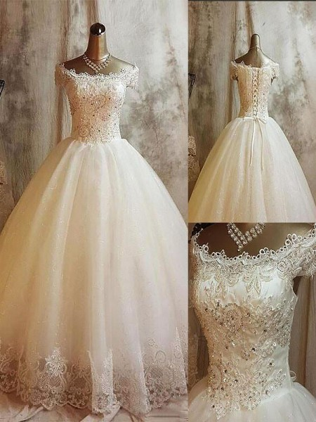 Ball Gown Off-the-Shoulder Applique Sleeveless Tulle Long Wedding Dresses
