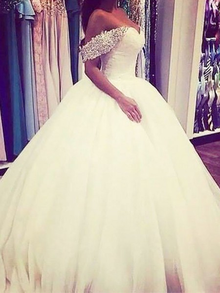 Ball Gown Off-the-Shoulder Beading Sleeveless Tulle Long Wedding Dresses