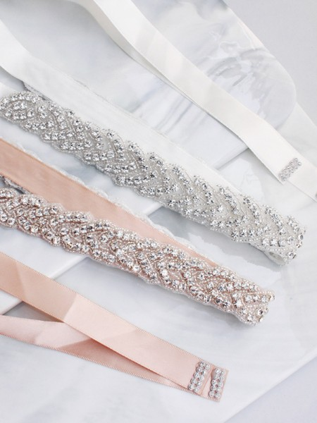 Women's Pretty Satin Sashes With Crystals