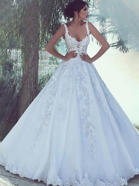 Ball Gown Satin Lace Sleeveless Scoop Long Wedding Dresses