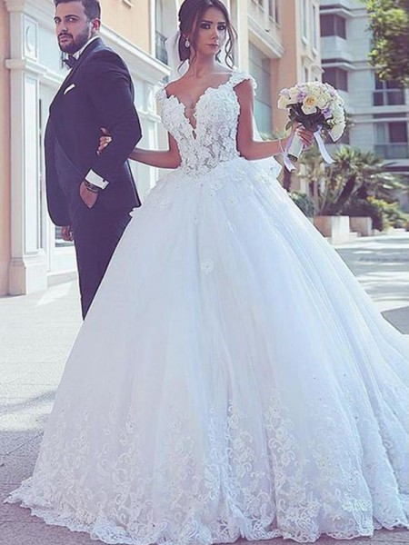 Ball Gown Tulle Lace Sleeveless Sweetheart Long Wedding Dresses