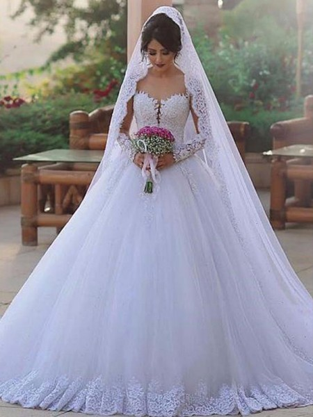 Ball Gown Tulle Lace Long Sleeves Sweetheart Long Wedding Dresses