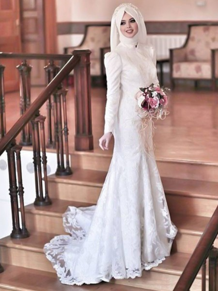 Trumpet/Mermaid Tulle Lace Long Sleeves High Neck Long Wedding Dresses