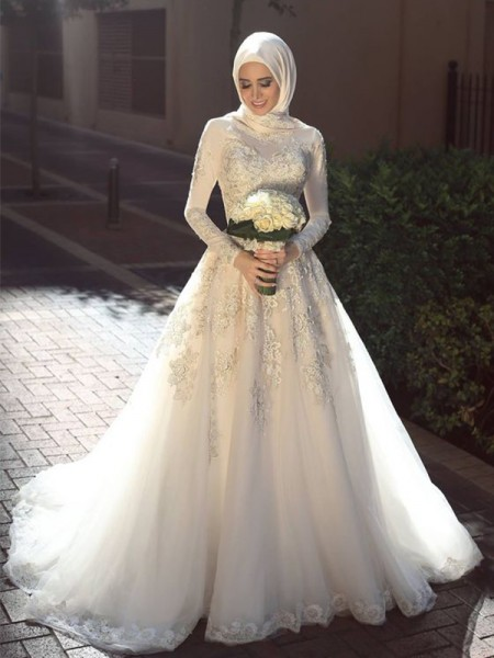 Ball Gown Tulle Applique Long Sleeves Jewel Long Wedding Dresses