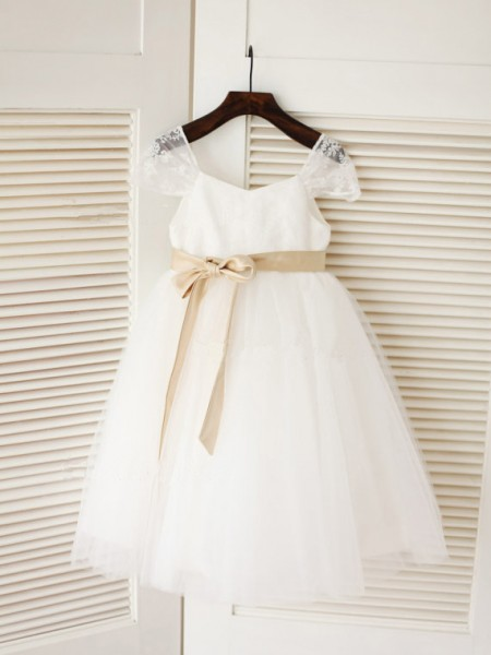 Ball Gown Scoop Sash/Ribbon/Belt Sleeveless Tulle Tea-Length Flower Girl Dresses