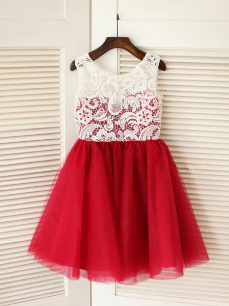 A-Line/Princess Scoop Lace Sleeveless Tulle Knee-Length Flower Girl Dresses