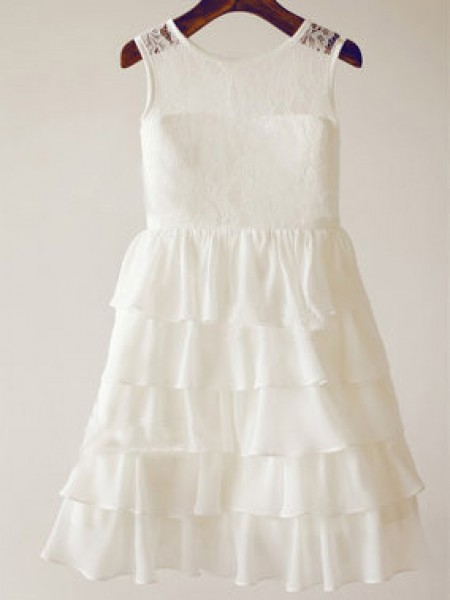 A-Line/Princess Chiffon Scoop Sleeveless Lace Tea-Length Flower Girl Dresses