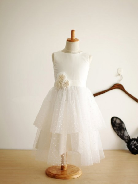 A-Line/Princess Jewel Hand-Made Flower Sleeveless Tulle Tea-Length Flower Girl Dresses