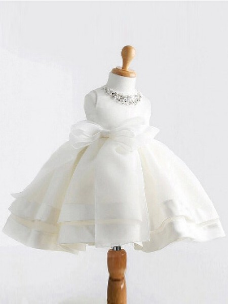 Ball Gown Jewel Bowknot Sleeveless Satin Tea-Length Flower Girl Dresses