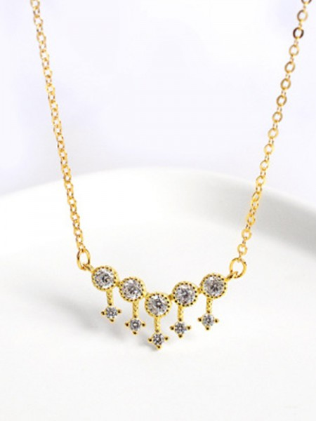 Ladies's Gorgeous S925 Silver Necklaces With Rhinestone