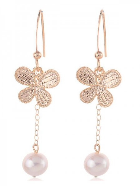 Korean Fancy Pearl With Butterfly Women's Earrings