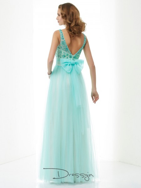 A-Line/Princess Bateau Beading Sleeveless Elastic Woven Satin Net Long Dresses