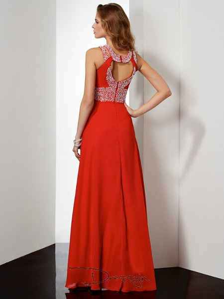 Empire Jewel Acrylic Jewels Sleeveless Chiffon Long Dresses
