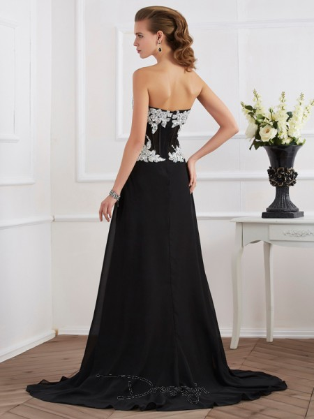 Sheath/Column Sweetheart Beading Applique Sleeveless Chiffon Long Dresses