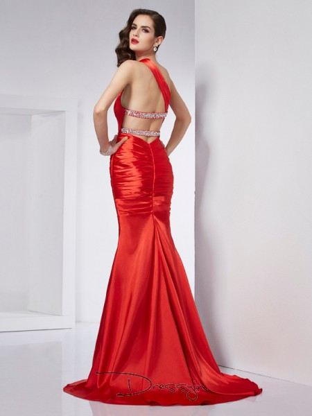 Sheath/Column One-Shoulder Beading Sleeveless Elastic Woven Satin Long Dresses