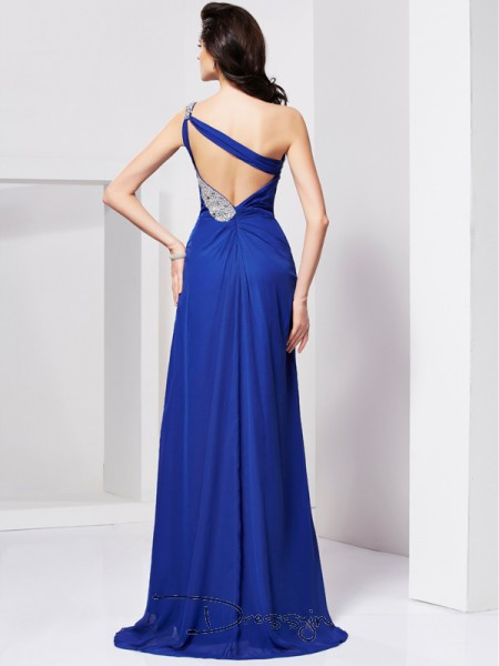 A-Line/Princess One-Shoulder Pleats Beading Sleeveless Chiffon Long Dresses