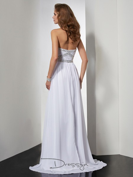 Sheath/Column Strapless Sweetheart Beading Sleeveless Chiffon Long Dresses