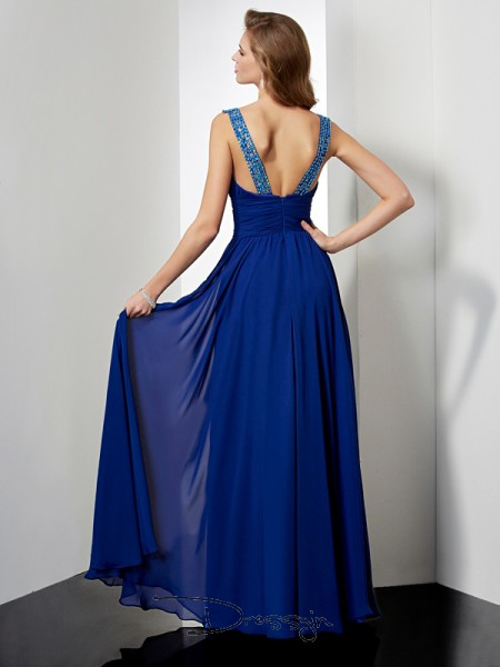 Empire High Neck Beading Sleeveless Chiffon Long Dresses