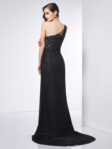 Sheath/Column One-Shoulder Applique Sleeveless Chiffon Long Dresses