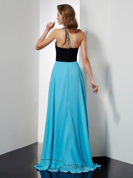 A-Line/Princess One-Shoulder Beading Sleeveless Chiffon Long Dresses