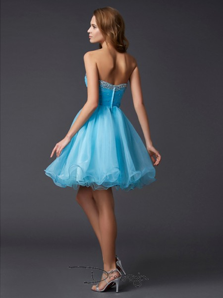 A-Line/Princess Sweetheart Beading Sleeveless Tulle Short Dresses
