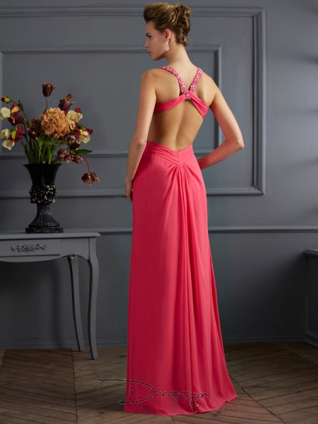 Empire Sweetheart Straps Ruffles Beading Sleeveless Chiffon Long Dresses