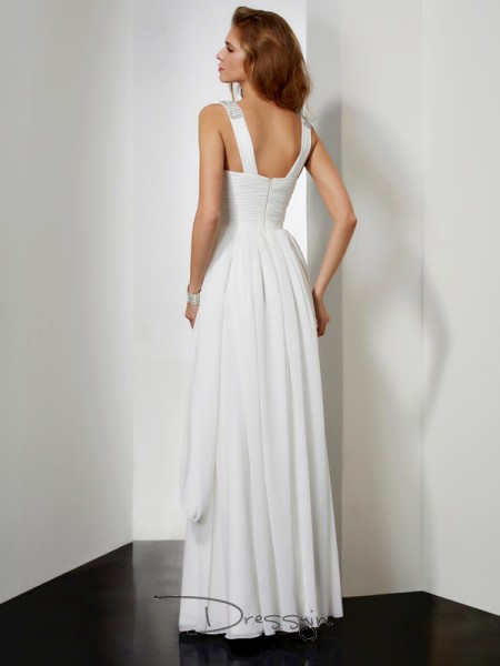 A-Line/Princess V-neck Rhinestone Sleeveless Chiffon Long Dresses