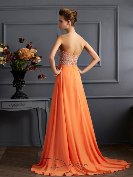 A-Line/Princess Sweetheart Beading Sleeveless Chiffon Long Dresses
