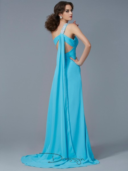 Sheath/Column One-Shoulder Beading Applique Sleeveless Chiffon Long Dresses