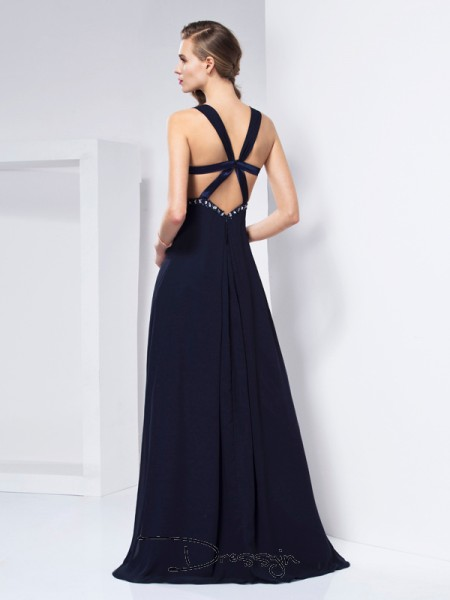 A-Line/Princess V-neck Ruffles Sleeveless Chiffon Long Dresses