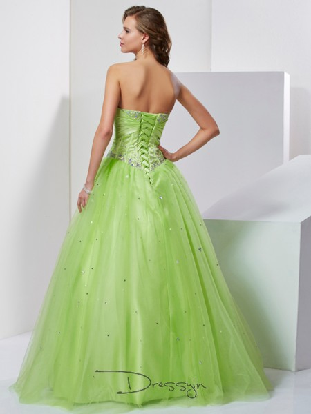 Ball Gown Sweetheart Beading Sleeveless Tulle Long Dresses