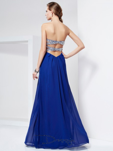 Sheath/Column Sweetheart Rhinestone Sleeveless Chiffon Long Dresses