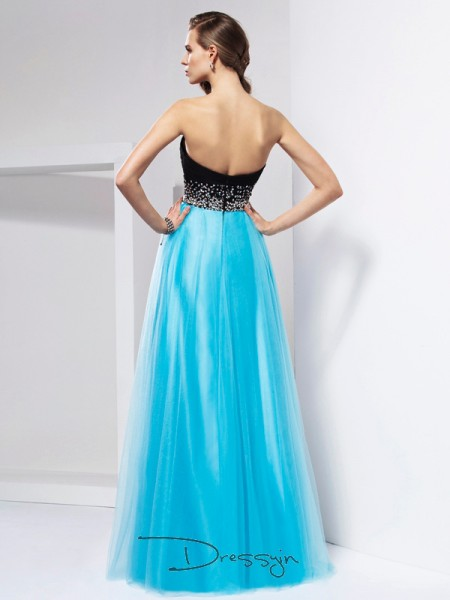 A-Line/Princess Sweetheart Sash/Ribbon/Belt Sleeveless Net Long Dresses