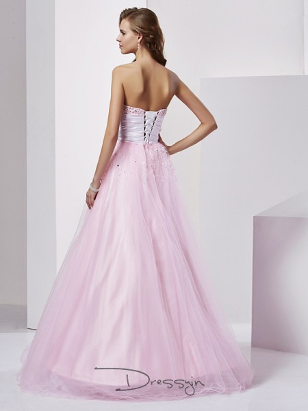 Ball Gown Strapless Sweetheart Beading Sleeveless Elastic Woven Satin Long Dresses