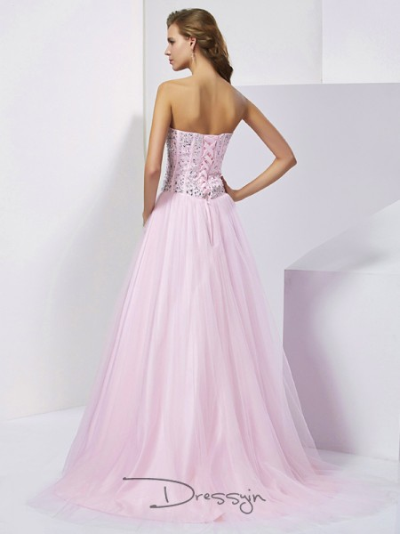 Ball Gown Sweetheart Beading Sleeveless Satin Long Dresses