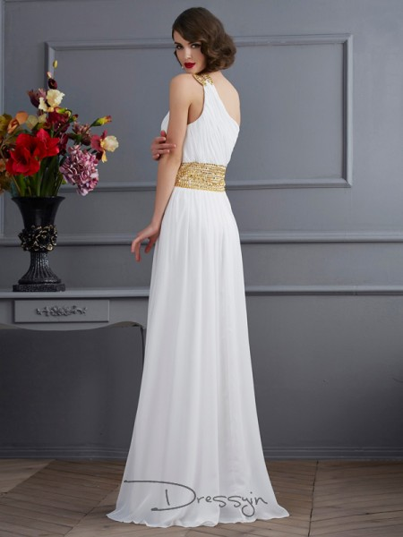A-Line/Princess One-Shoulder Ruched Sleeveless Chiffon Long Dresses