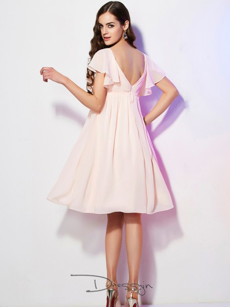 Sheath/Column Sweetheart Ruffles Short Sleeves Chiffon Knee-Length Bridesmaid Dresses