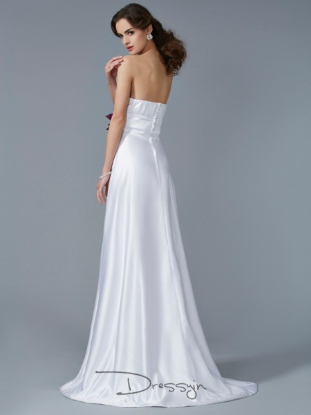 A-Line/Princess Strapless Hand-Made Flower Sleeveless Satin Long Dresses