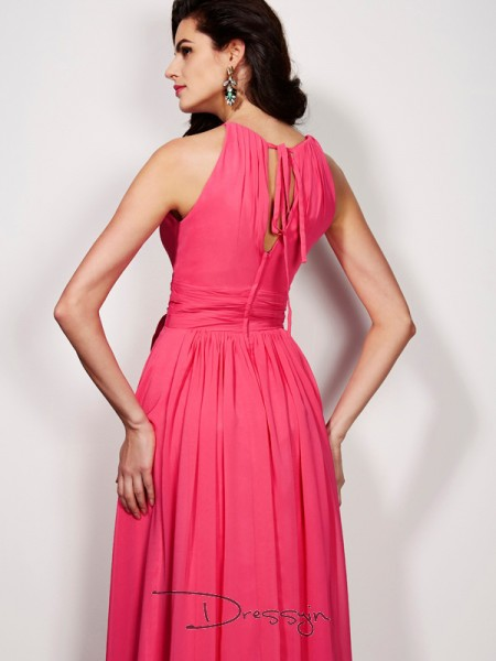 A-Line/Princess High Neck Pleats Sash/Ribbon/Belt Sleeveless Chiffon Long Dresses