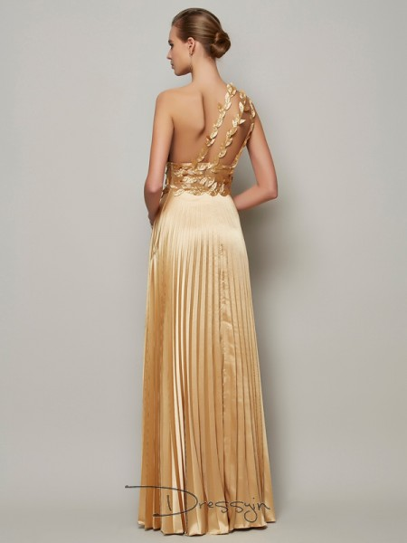 A-Line/Princess One-Shoulder Hand-Made Flower Sleeveless Elastic Woven Satin Long Dresses