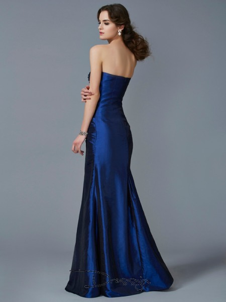 Trumpet/Mermaid Strapless Applique Sleeveless Taffeta Long Dresses