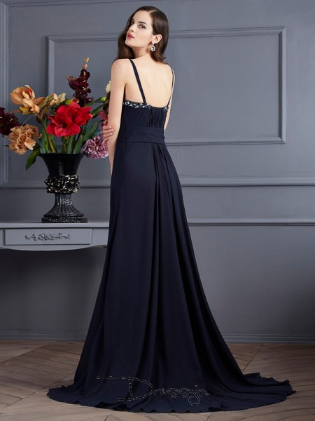 A-Line/Princess Spaghetti Straps Beading Sleeveless Chiffon Long Dresses