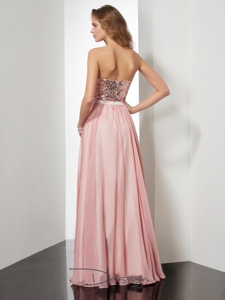 A-Line/Princess Strapless Paillette Sleeveless Chiffon Long Dresses