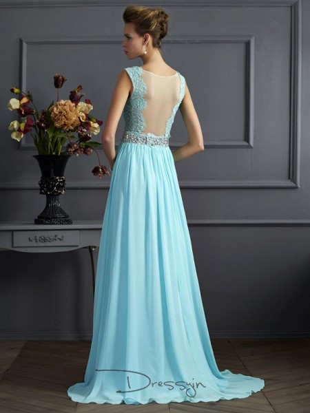 A-Line/Princess Straps Beading Lace Sleeveless Chiffon Long Dresses