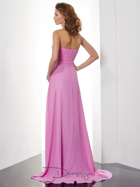 A-Line/Princess Sweetheart Ruched Sleeveless Chiffon Long Dresses