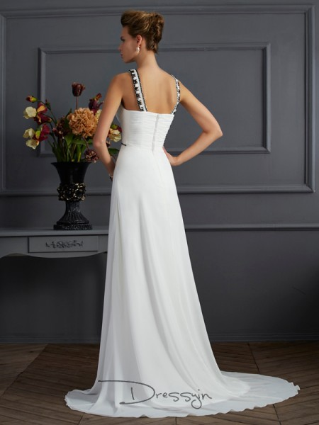 A-Line/Princess High Neck Beading Sleeveless Chiffon Long Dresses